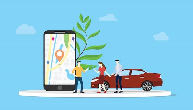 Compartir autos en línea para el transporte de la ciudad con la aplicación para teléfonos inteligentes, mapas de ubicación, gps