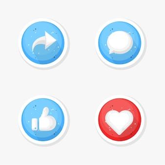 Compartir, comentar, gustar y amar el icono de las redes sociales