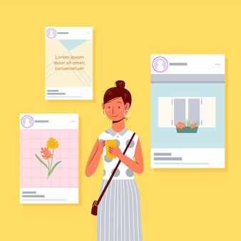 Compartir contenido en concepto de redes sociales
