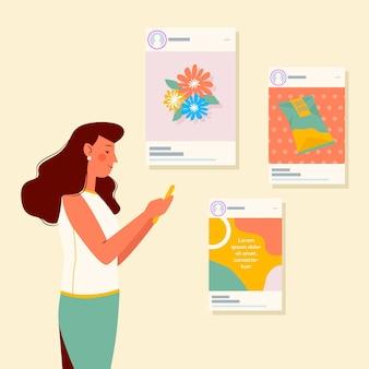 Compartir contenido en la ilustración del concepto de redes sociales