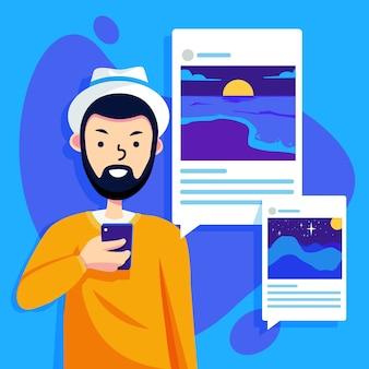 Compartir contenido en las redes sociales con el hombre y el teléfono inteligente