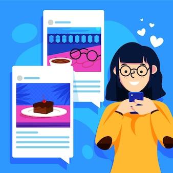 Compartir contenido en redes sociales con mujer y teléfono inteligente