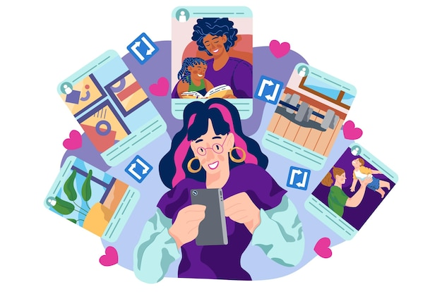 Compartir contenido en el tema de redes sociales