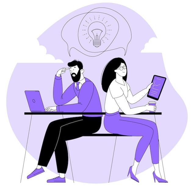 Compartir ideas de negocios, colaboración y trabajo en equipo.