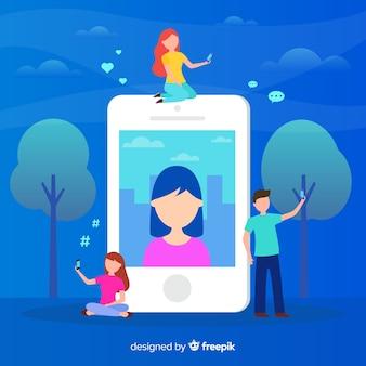 Compartir selfies en las redes sociales