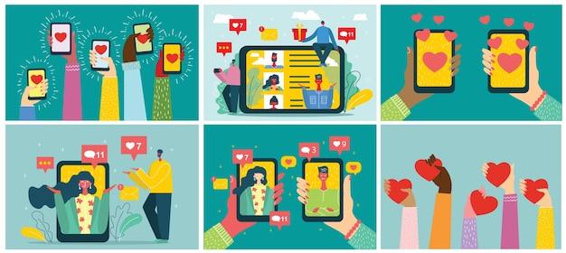 Compartir tu amor. concepto de san valentín en la aplicación de citas en línea