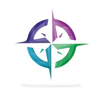Compass modern logo 3d vector