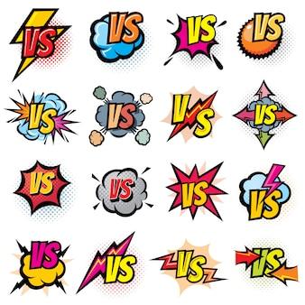 Competencia de batalla versus conjunto de logotipos vectoriales. vs rivales desafían emblemas y etiquetas.