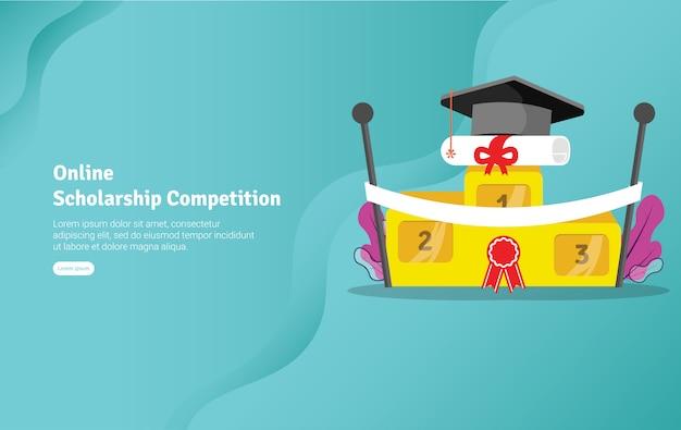 Competencia de becas en línea ilustración banner
