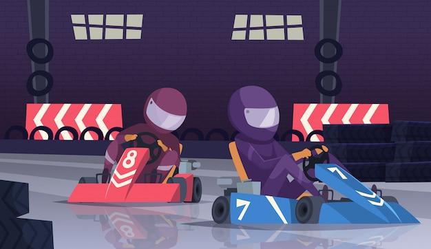 Competencia deportiva de karting. corredores en casco en autos rápidos en dibujos animados de pista de velocidad