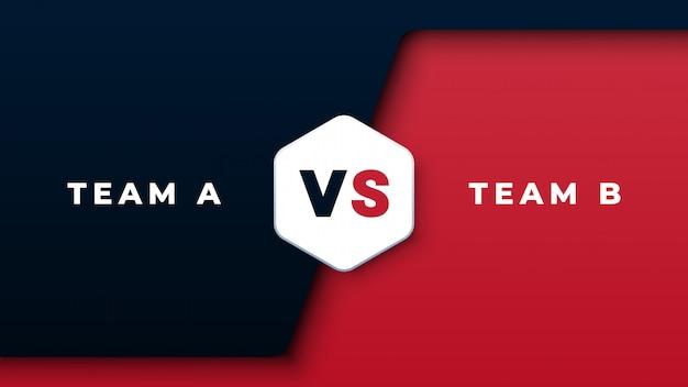 Competencia deportiva versus fondo negro y rojo