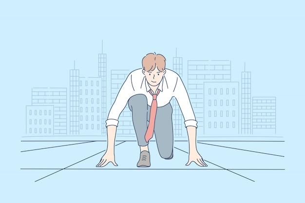 Competencia, desafío, inicio, carrera, concepto de negocio.