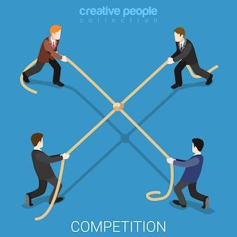 Competencia empresarial lazo plano isométrico