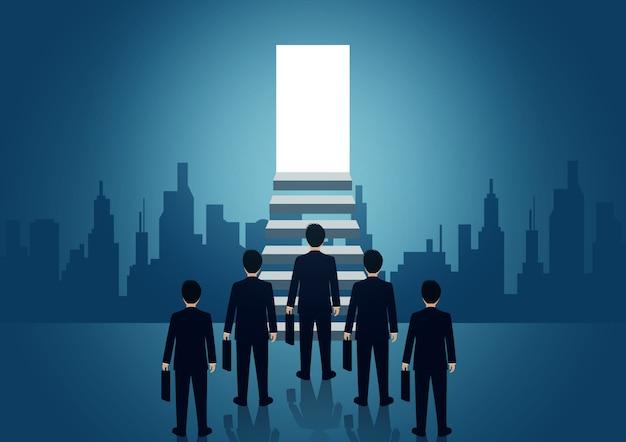 Competencia de empresario subiendo la escalera a la puerta