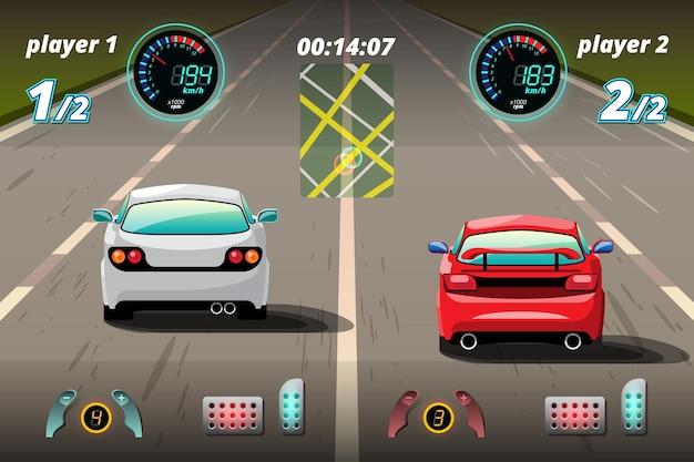 En la competencia del juego, el jugador continuo usó un automóvil de alta velocidad para ganar en el juego de carreras.