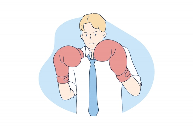 Competencia, rival, desafío, concepto de negocio