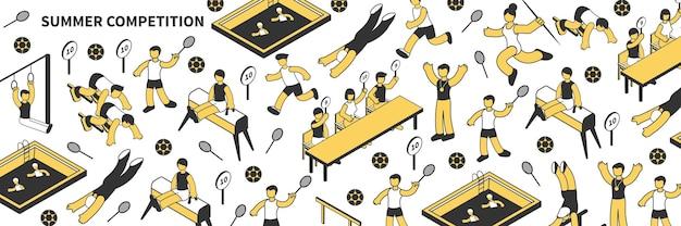 Competencia de verano isométrica de patrones sin fisuras con jueces y atletas jugando fútbol tenis natación haciendo gimnasia artística 3d