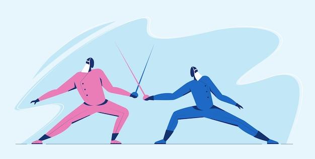 Competición de duelo de esgrima hombre atleta. deportista en batalla con espada luchando en color azul y rosa.