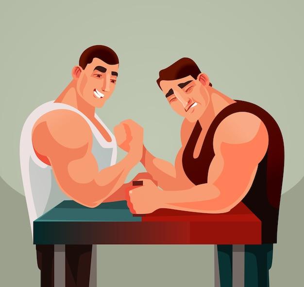 Competiciones juego de lucha de brazos, dos atletas hombres personajes compiten con armas de lucha libre.