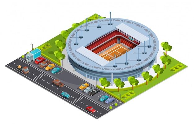 Complejo deportivo de tenis con estadio de pista abierta.