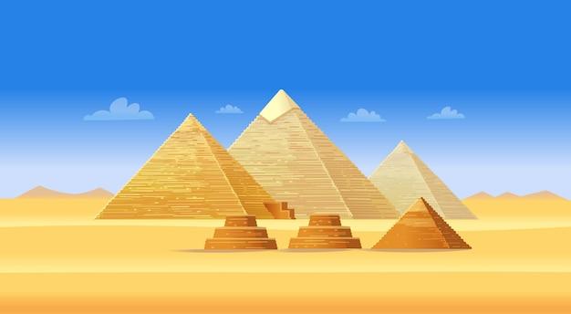 Complejo de pirámides egipcias en giza. famoso hito africano, centro turístico de el cairo. ilustración.