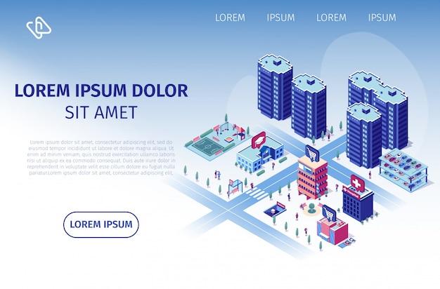 Complejo residencial de lujo vector web banner