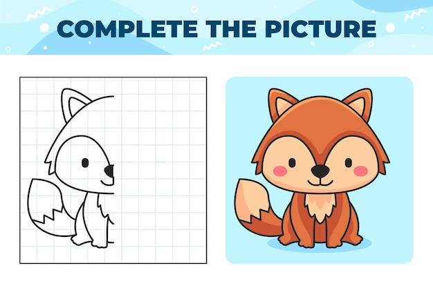 Completa la ilustración de la imagen con el zorro.