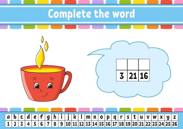Completa las palabras. código de cifrado aprendizaje de vocabulario y números.