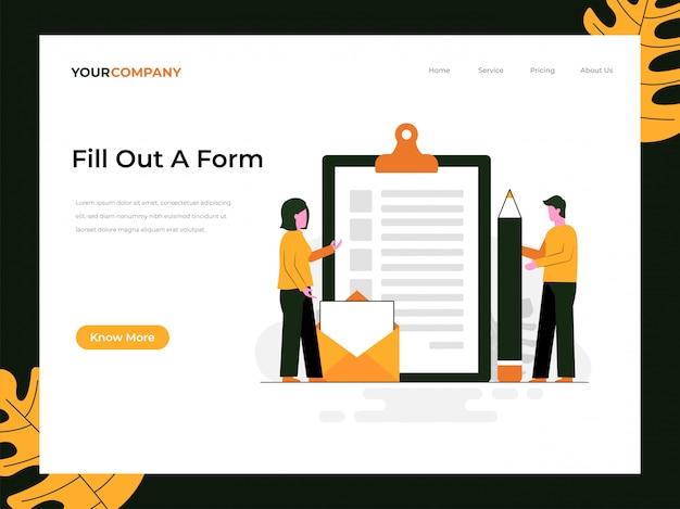 Complete una página de inicio del formulario