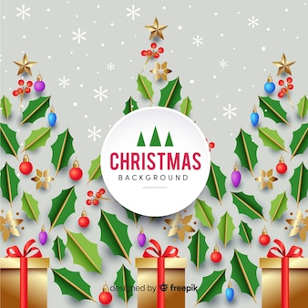 Compoción elegante de navidad con diseño realista