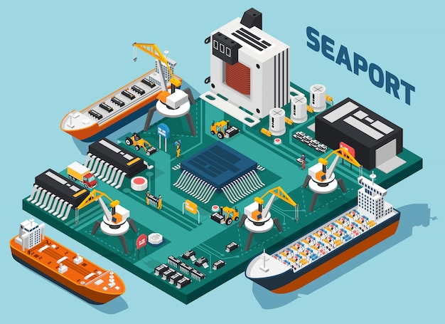 Componentes electrónicos de semiconductores composición isométrica del puerto marítimo