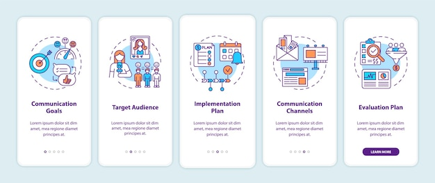 Componentes de la estrategia de comunicación que incorporan la pantalla de la página de la aplicación móvil con conceptos