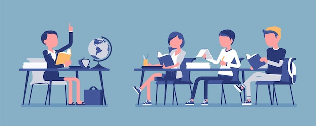 Comportamiento normal en la escuela. conducta satisfactoria, adecuada y educada en el aula durante la lección, los estudiantes con disciplina organizan la actividad. ilustración de vector con personajes sin rostro