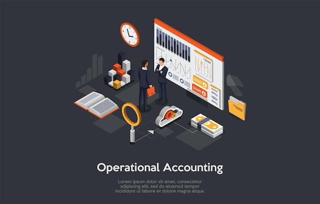 Composición 3d, arte isométrico. idea de contabilidad operativa
