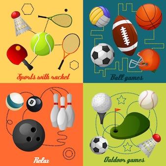 Composición de 4 iconos planos deportivos
