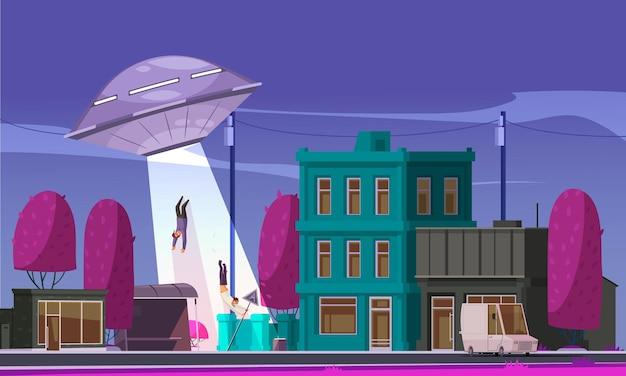 Composición de abducción de ovnis extraterrestres con vista de la calle de la ciudad con casas y personas que vuelan a ovni