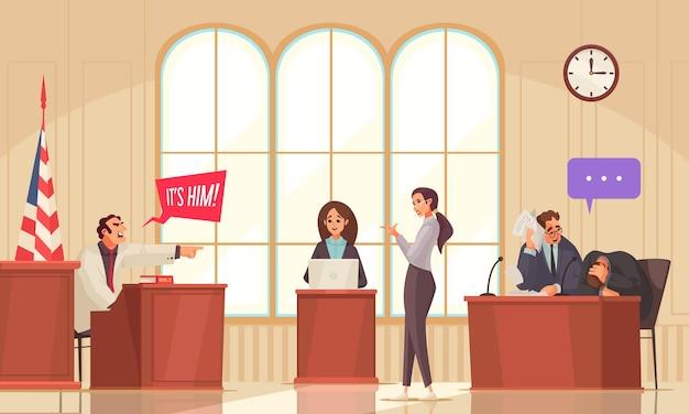Composición de abogados de justicia legal con paisajes interiores de tribunales y personajes humanos garabateados con burbujas de pensamiento