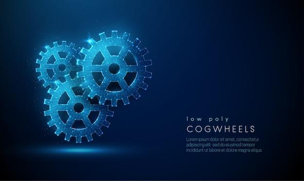 Composición abstracta baja poli de ruedas dentadas