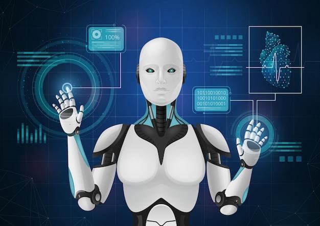 Composición abstracta de medicina innovadora con imagen de android que muestra elementos de la ilustración de vector de interfaz médica hud