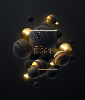 Composición abstracta con racimo de burbujas negras y doradas