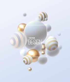Composición abstracta con racimo de esferas 3d