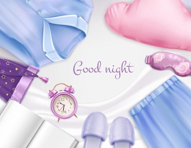 Composición de accesorios para dormir con pijamas, zapatillas, gorra, máscara, almohada, reloj despertador en hoja blanca, ilustración realista