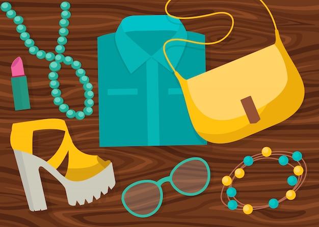 Composición de accesorios de moda