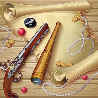 Composición de accesorios piratas