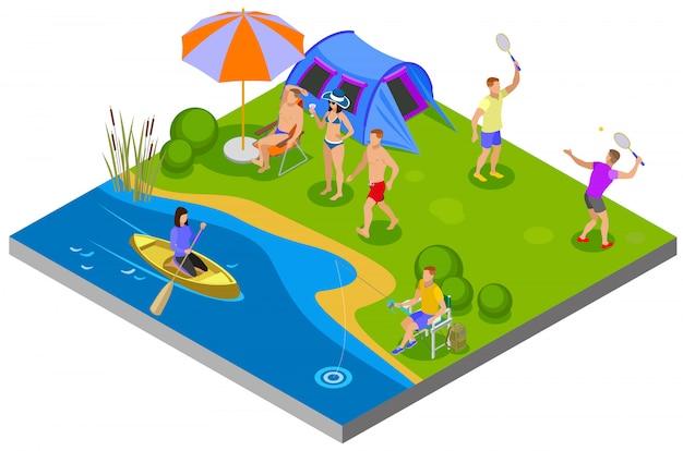 Composición de actividades al aire libre