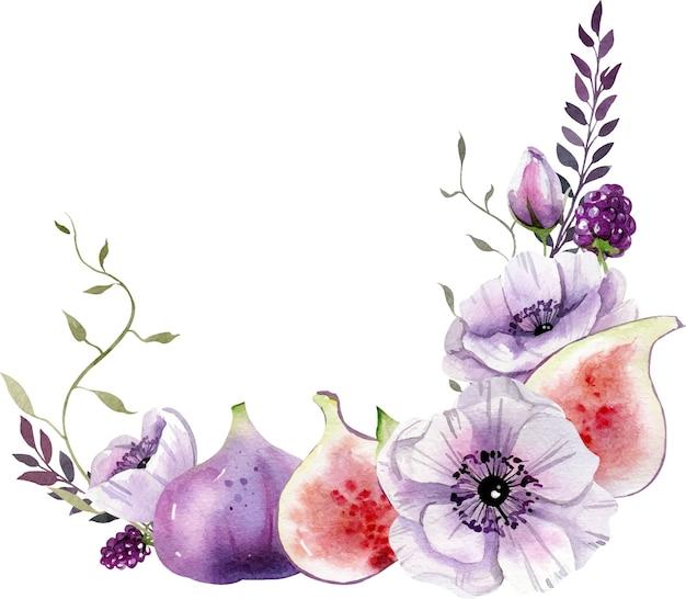Composición de acuarela con flores blancas y moradas, hojas e higos.