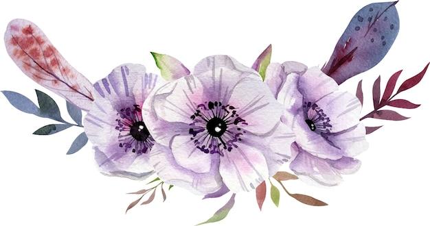 Composición de acuarela con flores blancas y púrpuras, hojas.