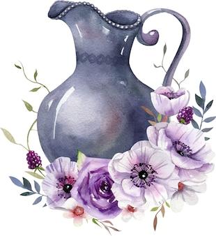 Composición de acuarela con tarro vintage, flores blancas y púrpuras, hojas.