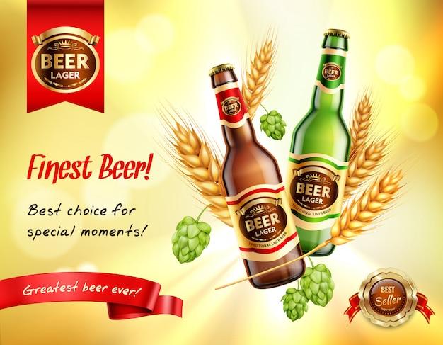 Composición ad realista de cerveza
