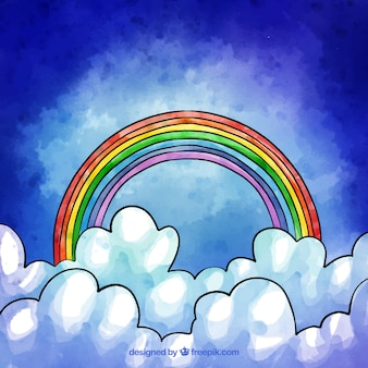 Composición adorable de arcoiris en acuarela